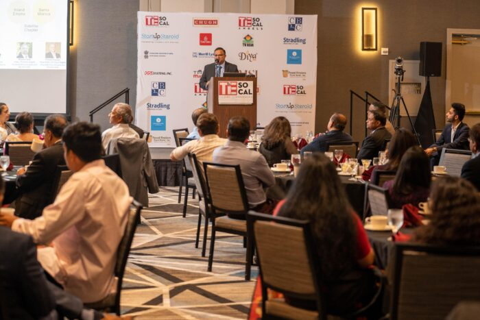 Anshuman Sinha, President of TiE SoCal addressing the attendees