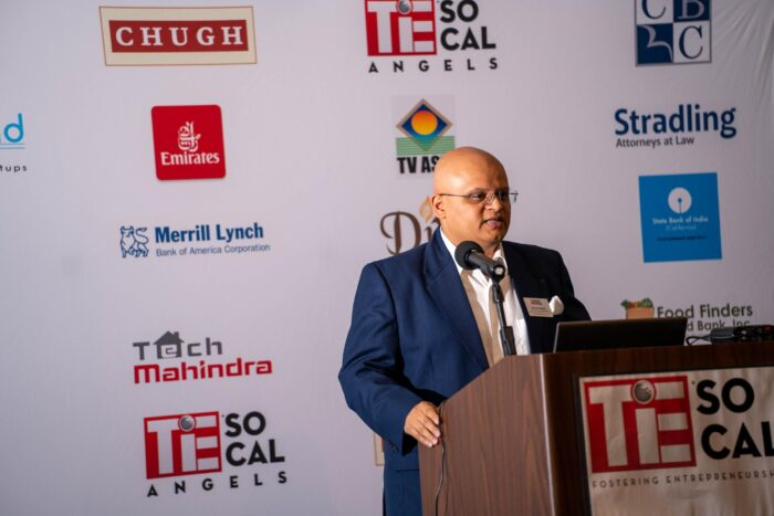 Dhaval Kapadia, Vice-Chair of TiE SoCal Angels speaking at the event